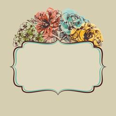 Fototapete - Retro colorful floral frame
