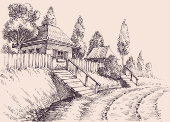 Village road, small old houses sketch wallpaper