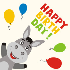 Happy birthday! Greeting card with funny donkey and balloons in cartoon style.