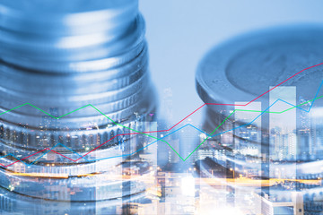 Finance and business concept, double exposure of coin and graph of financial for investment strategy.