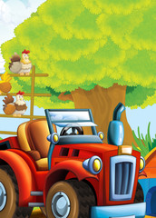 cartoon happy and funny farm scene with tractor - car for different tasks - illustration for children