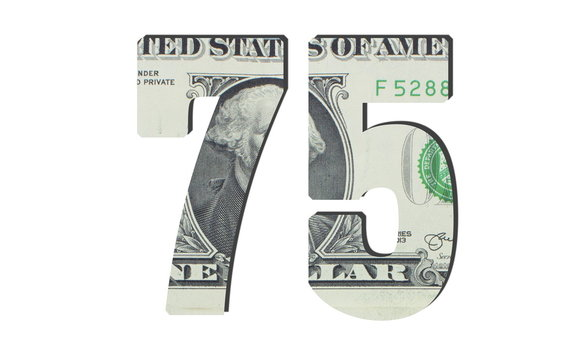 75 Number. American dollar banknotes. Money texture. Isolated on white background