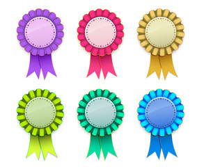 Ribbon Award badge Pink Light Green Blue Yellow Magenta on background
