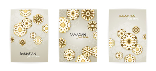 Ramadan Kareem set of posters or invitations design with 3d paper cut islamic lanterns, stars and moon on gold and violet background. Vector illustration.