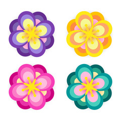 set colorful flower element decor isolated for game art design