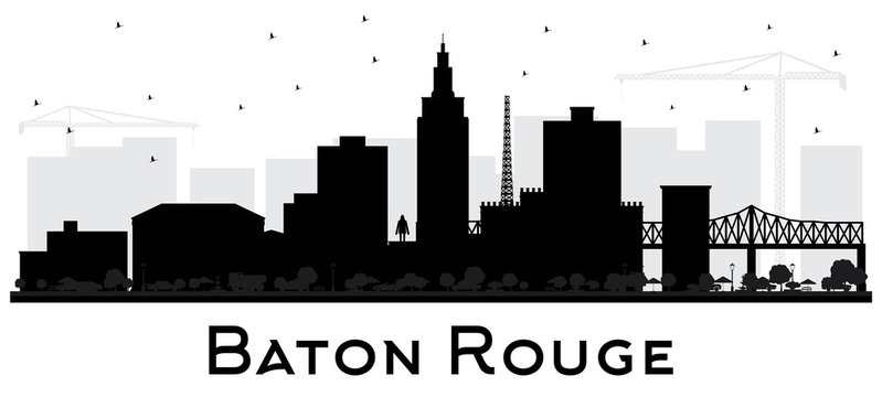 Baton Rouge Louisiana City Skyline Silhouette with Black Buildings Isolated on White.