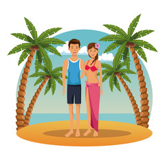 Young couple in the beach cartoons summer vector illustration graphic design