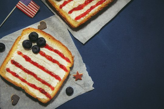 American flag red blue white sandwich / 4th of july Memorial day theme food