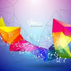 Vector Music illustration with falling notes and abstract color design on blue background for invitation banner, party poster, greeting card.
