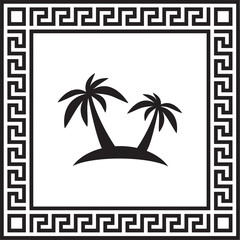 Vector icon palm tree in a frame with a Greek ornament