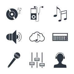 Set of music technology symbols collection vector illustration graphic design