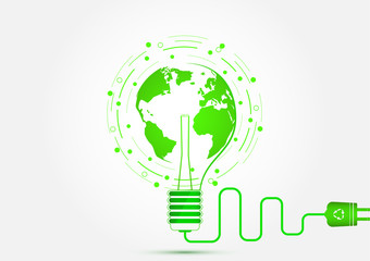 Light bulb with green earth, ecology and energy saving concept vector illustration