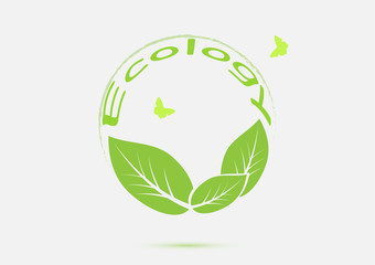 Ecology think green icon concept vector illustration
