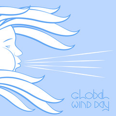 Global Wind Day. Wind symbol - face in profile, blowing, hair fluttering