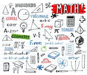 School mathematics doodles, vector set