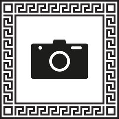 Vector icon camera in a frame with a Greek ornament
