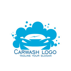 Car wash logo vector, with blue color.
