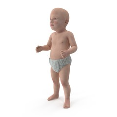 cute baby isolated on white. 3D illustration
