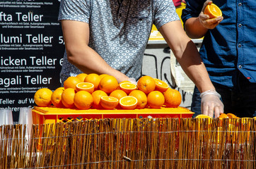Fresh oranges for juicy making on table