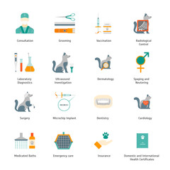 Cartoon Veterinary and Grooming Signs Color Icons Set. Vector