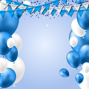 Blue White Balloons header background. Party card with blue white balloons. Balloon background.