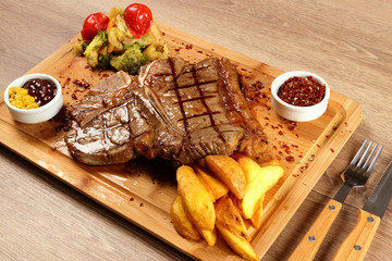 Grilled Steak Beef on the Restaurant Table