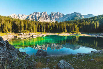 Carezza lake in Dolomites, Italy
