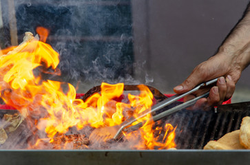 barbeque grill fire