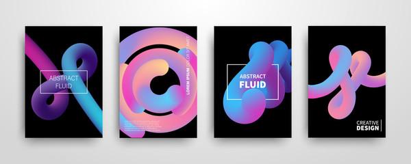 Set of abstract 3D liquid color shapes