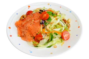 Salmon salad on white background