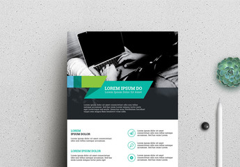 Business Flyer Layout with Blue and Green Accents