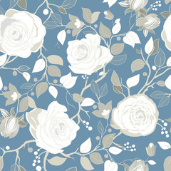 Foto op Aluminium Botanisch Gray pattern with big white roses. Vector wallpaper with big illustration flowers. Hand drawn plants