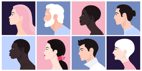 A set of people's faces in profile: men, women, young and elderly of different races and nations. Vector Flat Illustration