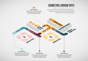 Isometric Overlapping Arrow Path Infographic Layout