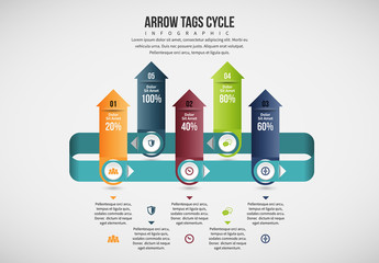 Upward Arrows Cylce Infographic Layout