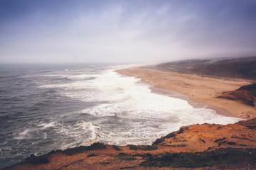 Coast of the Atlantic Ocean in a storm, Portugal, neighborhood Nazare. Beautiful sea ocean landscape