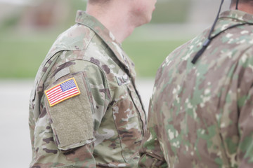United States flag symbol on a US soldier uniform