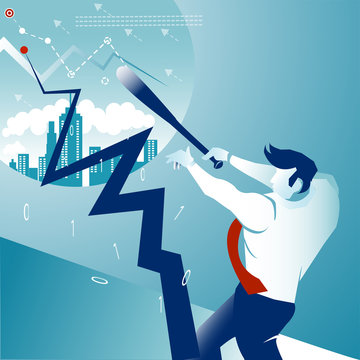 Focus .Business man hit the ball go to home run success on the blue background. Illustration concept vector.
