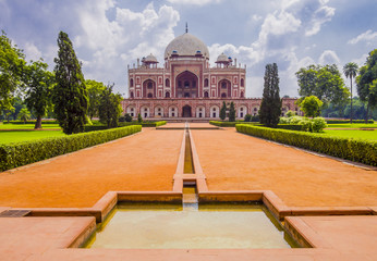 Tomb of Mughal Emperor Humayun surrounded by Char Bagh gardens, Delhi, India