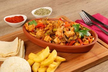 Diced Chicken Meat with Vegetable on the Plate