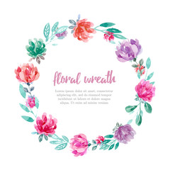 Sweet floral wreath in watercolor style