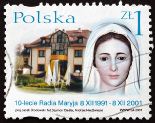Postage stamp Poland 2001 Head of Virgin Mary Statue