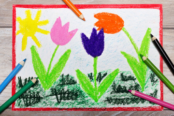 Colorful hand drawing: Tree beautiful tulip flowers and sun. Springtime