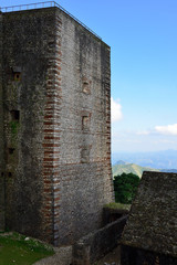 Mountain range over Haiti and remains of the French Citadelle la ferriere built on the top of a mountain