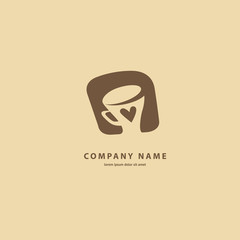 Vector stock logo, abstract sign of cafe, vector template of cafeteria and bistro.