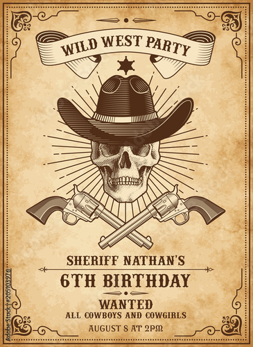Death Cowboy Invite Template Stock Image And Royalty Free Vector