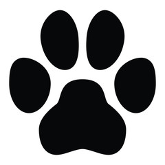 Pet paw symbol. Simple black dog or cat footprint shape.