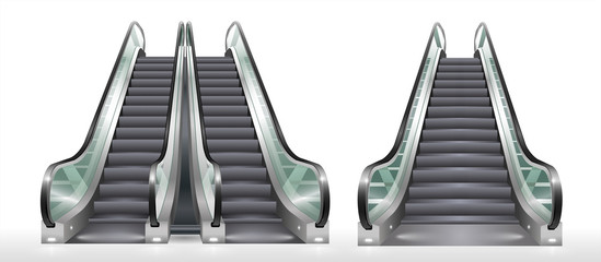 Double escalator shopping center or office with transparent glass. Vector graphics