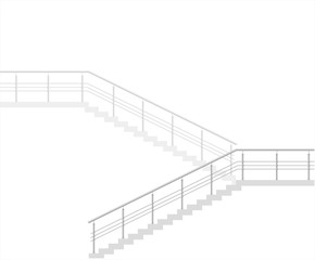 Modern staircase on white background. Modern building. Vector graphics