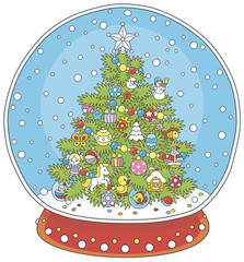 Crystal ball with a decorated Christmas tree and falling snow inside
